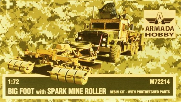 "AMM72214   M923 ""Big Foot"" ARMOURED GUN TRUCK w. SPARK Mine Roller Resin kit w. PE set (thumb9654)"