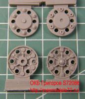 OKBS72086 Ведущие колеса танка Т-34 мод.1943-45 тип 2 (6 штук).    Sprocket wheel for T-34, mod.1943-45 type 2 (6 per set) (attach1 7794)