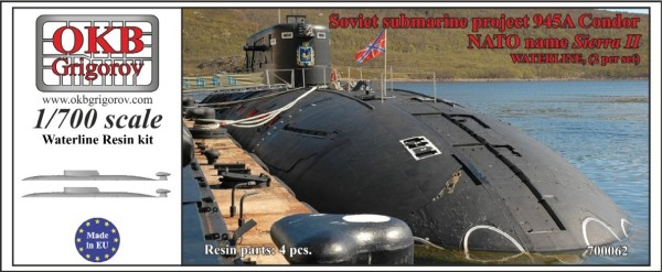 OKBN700062   Soviet submarine project 945A Condor (NATO name Sierra II),WATERLINE, (2 per set) (thumb11317)