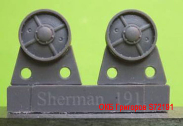 OKBS72191 Ленивец для семейства танков M4             Idler wheels for M4 family, VVSS four spoke French type (12 per set) (thumb8755)