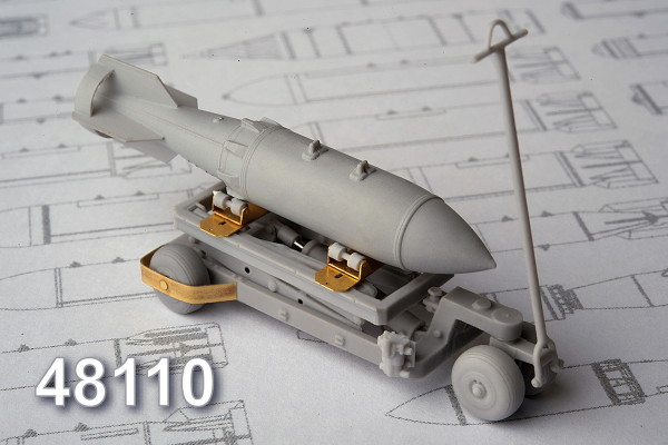 АМС 48110   Тележка с гидроподъемником для транспортировки и подвески  авиабомб калибром до 500 кг (thumb10355)