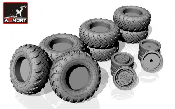 "AR AC7319     1/72 Russian ""Iskander""/""Bal""/""Bastion"" mobile launcher base wheels w/ VI-178AU tires (new tooling) (thumb13049)"