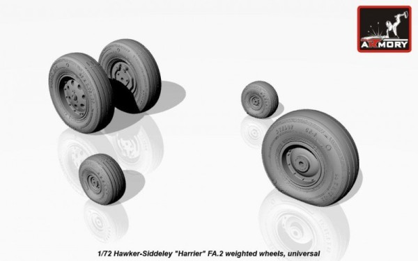 "AR AW72404    1/72 Hawker-Siddeley ""Harrier"" FA.2 weighted wheels (thumb12943)"