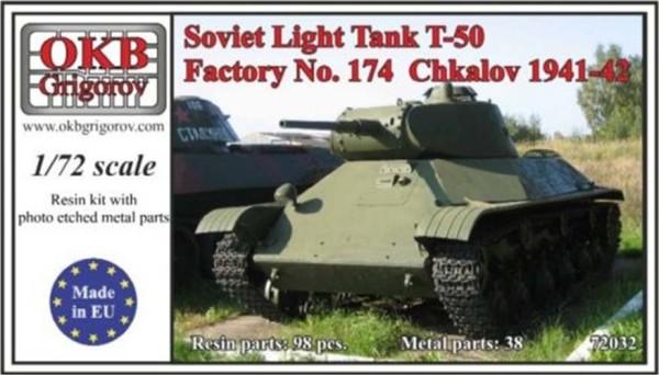 OKBV72032   Советский легкий танк Т-50 производства Чкаловского завода 1941-42 г.           Soviet Light Tank T-50, Factory No. 174  Chkalov 1941-42 (thumb8507)