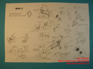ACEPE4807   Фототравление для модели МИГ-3 от ICM интерьер                                                                       MiG-3 interior with panel desk film (for 1/48 ICM kit) (thumb12250)
