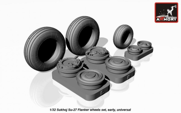 AR AW32004   1/32 Sukhoj Su-27 Flanker wheels, early (thumb12311)