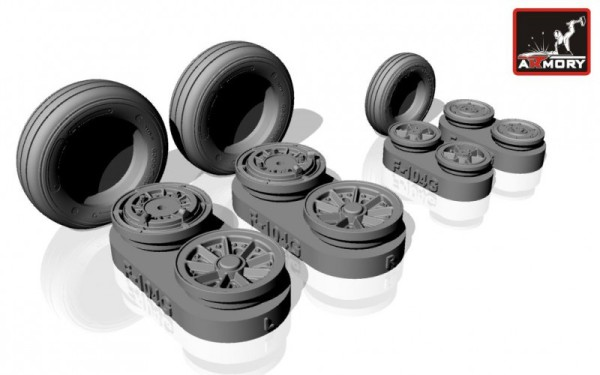 AR AW32301   1/32 F-104G Starfighter wheels, w/ optional nose wheels, weighted (thumb12321)