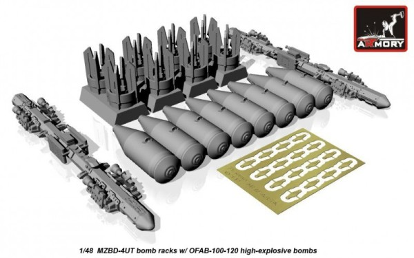 AR ACA4810c   1/48 MZBD-4UT w/ 4x OFAB-100-120 high-explosive bombs, resin ordnance set w/ PE parts (thumb12332)