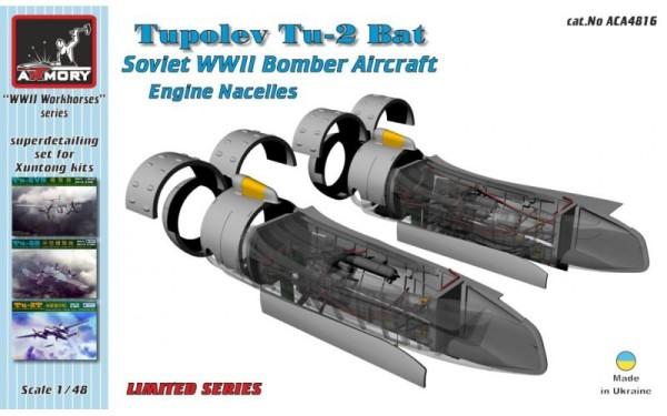 """AR ACA4816   1/48 Tupolev Tu-2 """"Bat"""" engine naceles, resin superdetailing set w/ PE parts (thumb12350)"""