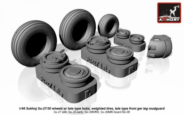 AR AW48021   1/48 Sukhoj Su-27/30 wheels w/ late type hubs, weighted tires, front mudguard (thumb12424)