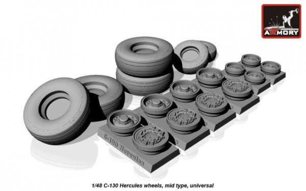 AR AW48310    1/48 C-130 Hercules wheels, mid type (thumb12473)