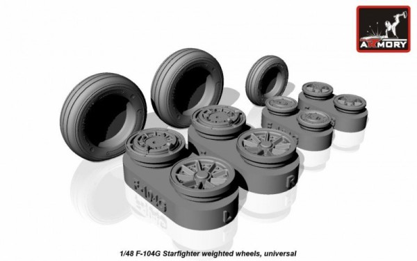 AR AW48312    1/48 F-104G Starfighter wheels (w/ optional nose wheels) (thumb12480)