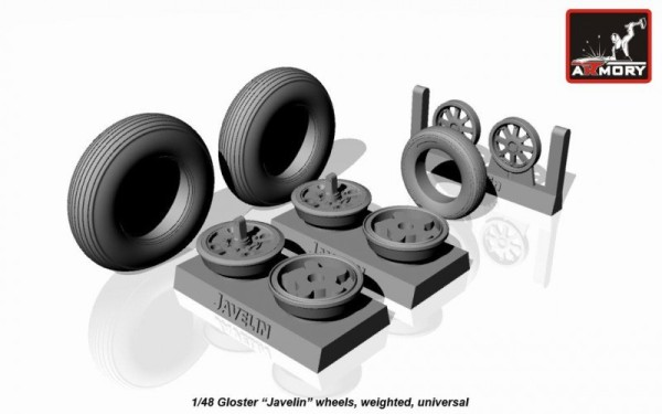 "AR AW48401    1/48 Gloster ""Javeline"" wheels, weighted (thumb12489)"