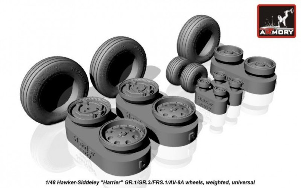 "AR AW48403    1/48 Hawker-Siddeley ""Harrier"" GR.1/GR.3/FRS.1/AV-8A wheels, weighted (thumb12498)"