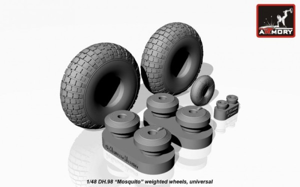 "AR AW48402    1/48 DH.98 ""Mosquito"" wheels, ""checkerboard"" tire pattern, weighted (thumb12494)"
