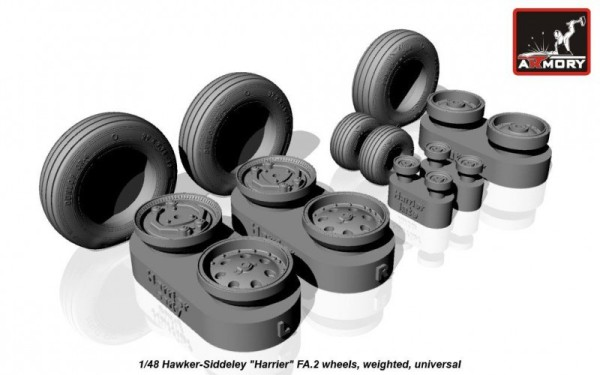 "AR AW48404    1/48 Hawker-Siddeley ""Harrier"" FA.2 wheels, weighted (thumb12504)"