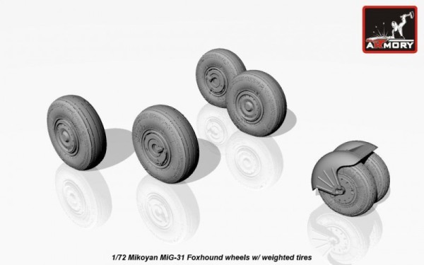 AR AW72025    1/72 Mikoyan MiG-31 Foxhound wheels w/ weighted tires, front mudguard (thumb12786)