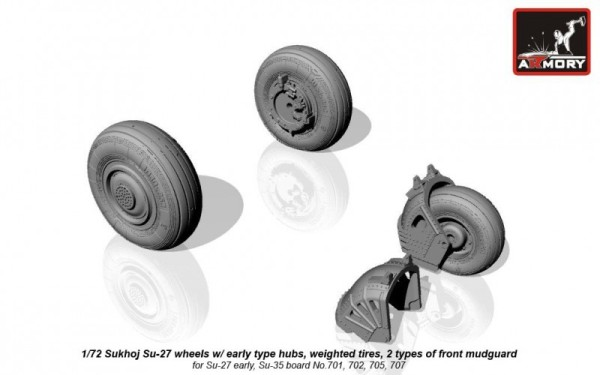 AR AW72032b    1/72 Sukhoj Su-27 wheels w/ early type hubs, weighted tires, 2 types of front mudguard (thumb12813)