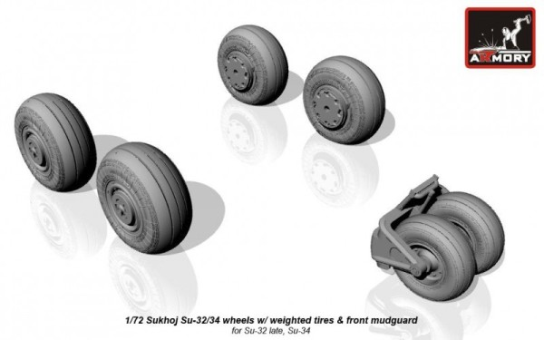 AR AW72045    1/72 Sukhoj Su-32/34 wheels w/ weighted tires, front mudguard (thumb12870)