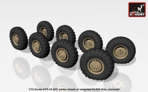 AR AC7323   1/72 BTR-70 APC wheels w/ weighted tires KI-80N (attach1 17331)