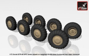 AR AC7324b   1/72 BTR-80 APC wheels w/ weighted tires KI-80N & armored hub caps (attach1 17345)