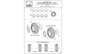 AR AC7324b   1/72 BTR-80 APC wheels w/ weighted tires KI-80N & armored hub caps (attach5 17345)