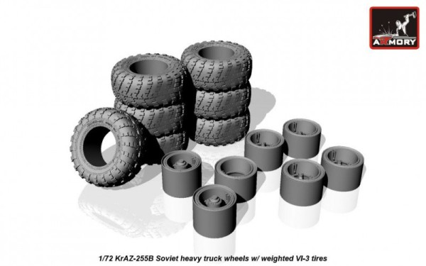 AR AC7335   1/72 KrAZ-255B off-road truck wheels w/ weighted VI-3 tires (thumb17352)