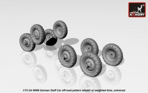 AR AC7340   1/72 Mercedes G4 wheels with weighted tires, off-road pattern (attach2 17360)