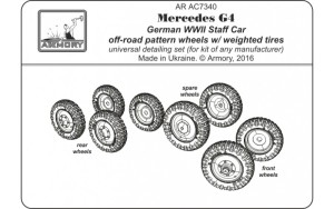 AR AC7340   1/72 Mercedes G4 wheels with weighted tires, off-road pattern (attach4 17360)