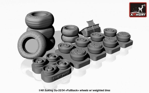 AR AW48025   1/48 Sukhoj Su-32/34 wheels w/ weighted tires (thumb17290)