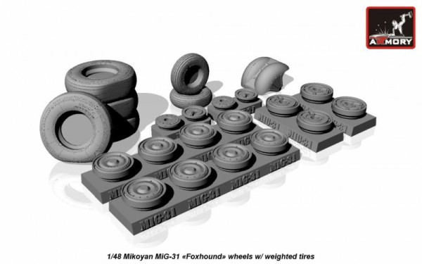 AR AW48026   1/48 Mikoyan MiG-31 wheels w/ weighted tires (thumb17299)