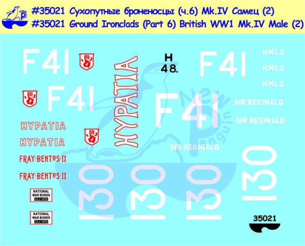 Pen35021   Ground Ironclads Part 6 British WW1 Mk.IV Male (2) For Takom, Tamiya, Emhar kits (thumb14035)