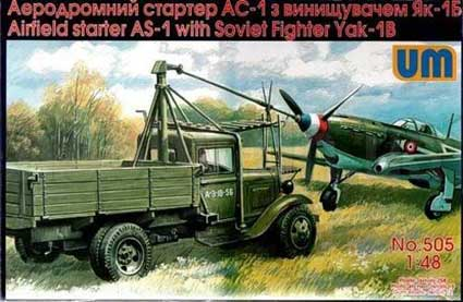 UM505   Airfield starter AS-1with Soviet fighter Yak-1B (thumb15953)