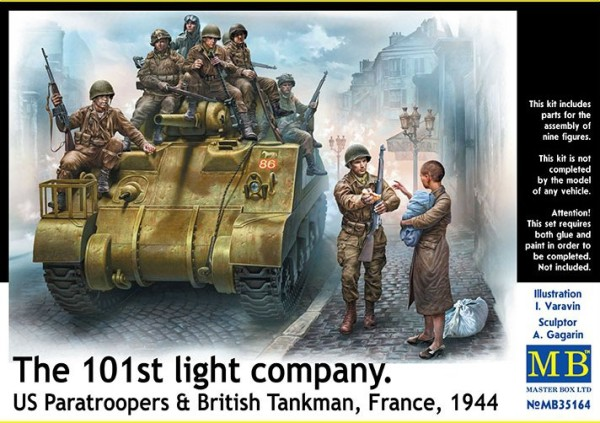 MB35164   101th light company. US paratroopers and British tankmеn, France, 1944 (thumb18182)