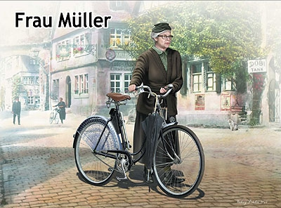 MB35166   Frau M?ller. Woman & women's bicycle, Europe, WWII Era (thumb18186)
