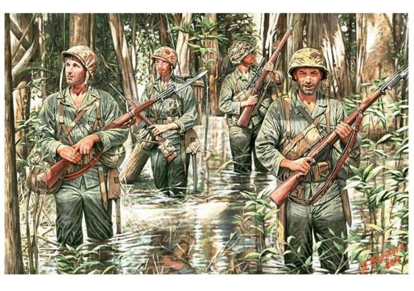 MB3589   U.S. Marines in jungle, WWII era (thumb18090)