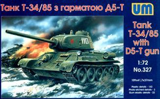 UM327   T-34/85 WW2 Soviet tank (1944) witn D5-T gun (thumb15819)