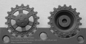 OKBS72262 Sprockets for Pz.V Panther, 18 tooth type 1 (8 per set) (thumb16665)