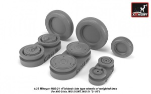 AR AW32011   1/32 Mikoyan MiG-21 Fishbed wheels w/ weighted tires, late (thumb21514)