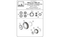 AR AW32011   1/32 Mikoyan MiG-21 Fishbed wheels w/ weighted tires, late (attach4 21514)