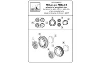 AR AW48027   1/48 Mikoyan MiG-21 Fishbed wheels w/ weighted tires, early (attach4 21537)