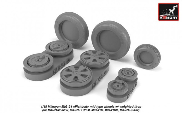 AR AW48028   1/48 Mikoyan MiG-21 Fishbed wheels w/ weighted tires, mid (thumb21543)