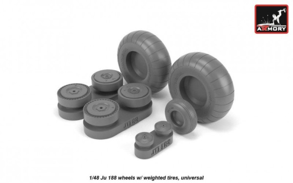 AR AW48203   1/48 Junkers Ju 188 wheels w/ weighted tires (thumb21561)