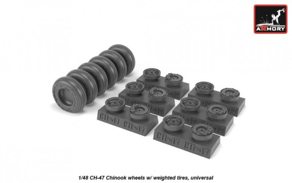 AR AW48311   1/48 CH-47 Chinook wheels w/ weighted tires (thumb21573)