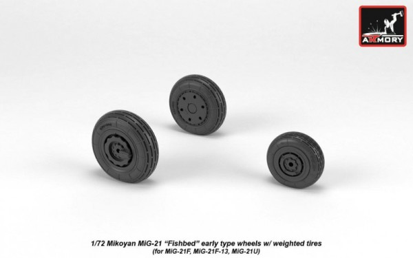 AR AW72048   1/72 Mikoyan MiG-21 Fishbed wheels w/ weighted tires, early (thumb21586)
