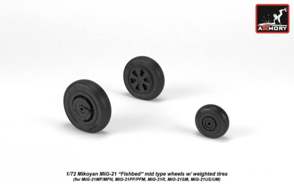 AR AW72049   1/72 Mikoyan MiG-21 Fishbed wheels w/ weighted tires, mid (thumb21592)