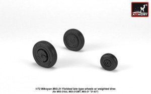 AR AW72050   1/72 Mikoyan MiG-21 Fishbed wheels w/ weighted tires, late (thumb21598)