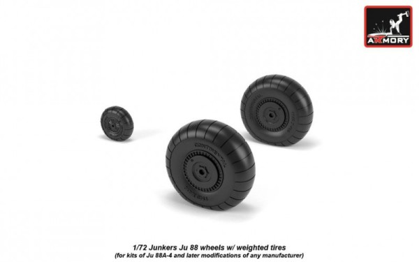 AR AW72202   1/72 Junkers Ju 88 late wheels w/ weighted tires (thumb21604)