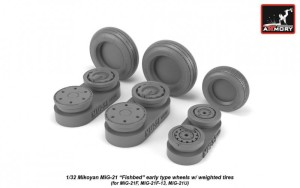 AR AW32009   1/32 Mikoyan MiG-21 Fishbed wheels w/ weighted tires, early (thumb21507)