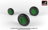 AR AW32009   1/32 Mikoyan MiG-21 Fishbed wheels w/ weighted tires, early (attach3 21507)